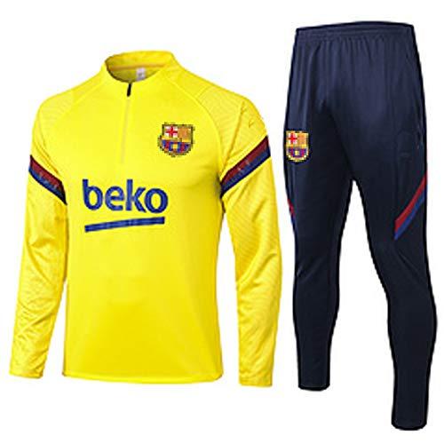 CCJJ Traje de Entrenamiento de fútbol 2021 BǎRCěLǒNǎ MǎSǐP Jersey de fútbol Juego de Camisetas de Manga Larga Pantalón Superior Sudaderas Bordadas Uniformes de Equipo Pro S