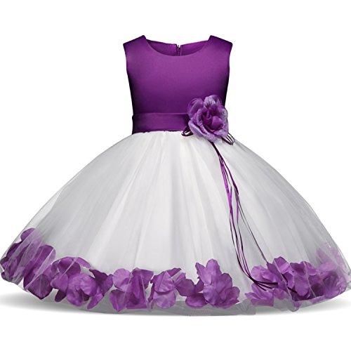 NNJXD Mädchen Tutu Blütenblätter Schleife Brautkleid für Kleinkind Mädchen, Lila 1, 6-7 Jahre/ Etikettgröße- 140