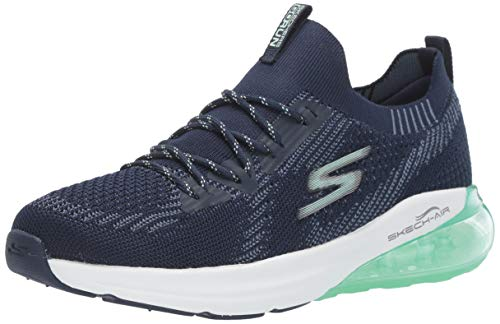 Skechers Women's GO Run AIR-16071 Sneaker, Navy/Aqua, 7.5 M US