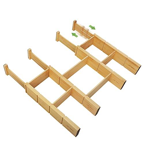 JSVER Separadores de Cajones 4 Piezas Organizador Cajones de Bambú Ajustable y Extraíble Divisores Cajones Organizador Armario Ropa para Cocina, Vestidor, Dormitorio, Cuarto de Baño