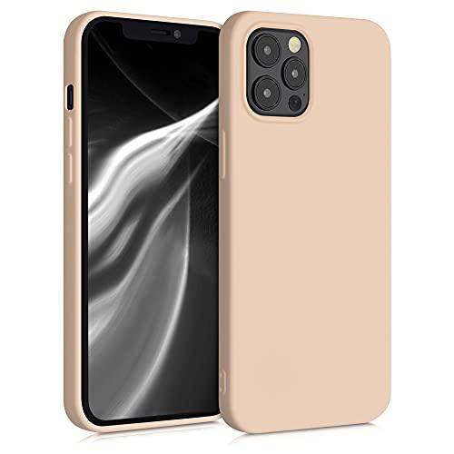 kwmobile Slim Hülle kompatibel mit Apple iPhone 12 Pro Max - Hülle Silikon Handy - gummiert - Handyhülle Perlmutt