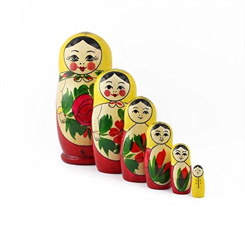 Heka Naturals Russische Matroschka-Puppen, 6 traditionelle Matroschkas Klassisch Semyonov Gelb | Babuschka Holzpuppe Geschenk Spielzeug, Handgefertigt in Russland | Semyonov Gelb, 6 Stück, 13 cm