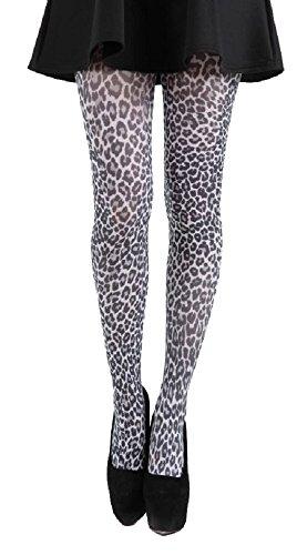 Pamela Mann Nylon-Strumpfhose Leopard, Weiss, Grösse 42-44