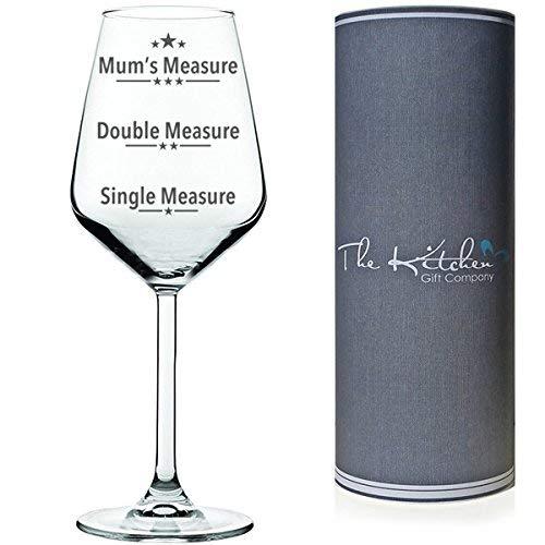 Copa de vino con texto en Medida única, Medida doble, Medida de las madres, para vino tinto o blanco, en tubo de regalo