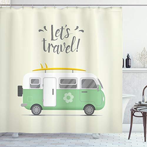ABAKUHAUS Camper Cortina de Baño, Vamos a Viajar Mensaje, Material Resistente al Agua Durable Estampa Digital, 175 x 200 cm, Marfil pálido Amarillo Verde
