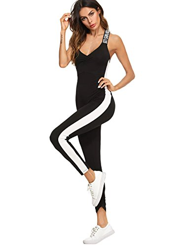 SweatyRocks Women's Spaghetti Strap Criss Cross Back Bodycon Tank Jumpsuits Rompers Playsuit Letter Black Medium