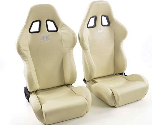 Par de asientos deportivos ergonómicos de piel sintética de color beige con costuras blancas