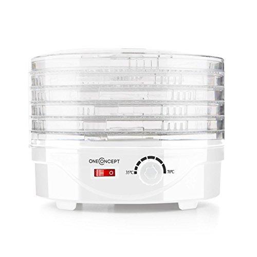 oneConcept Bonsai - Dörrgerät, Dörrautomat, Obst- Fleisch- und Früchte-Trockner, 5 Etagen, stapelbar, 250 Watt, stufenlos einstellbare Temperatur, 40-70 °C, leichte Reinigung, weiß