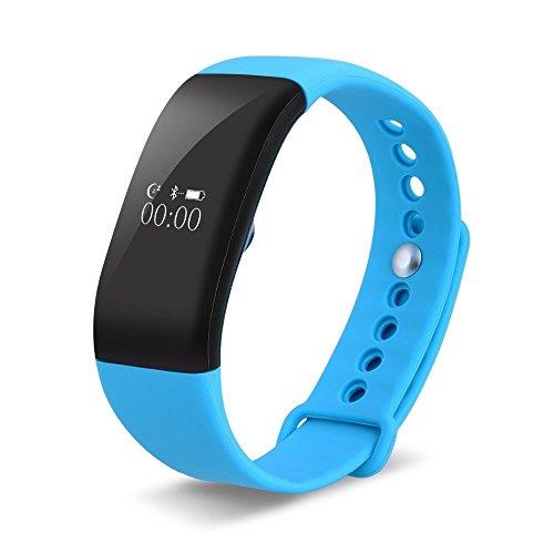 Braccialetto Sport Bracciale Fitness Tracker,Touch Screen Sportive Smartwatch Impermeabile 50 Meters,Cardiofrequenzimetro Intelligente Orologio Da Polso Monitor di Sonno per Andriod ios V66 (Blu)