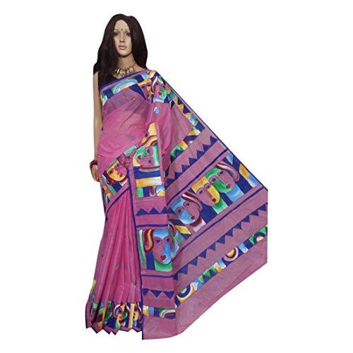 Rosa indio étnico sari sari tussar seda mano pintura tejedores hechos a mano de la aldea de Bengala 158a