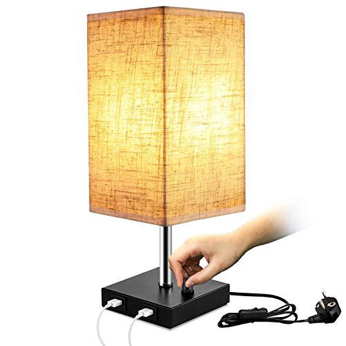Lightess Nachttischlampe Dimmbar E27 Tischlampe Vintage Modern mit 2x USB Anschluss Tischleuchte Stufenlos Dimmen Lampe mit E27 Glühbirne Warmweiss für Schlafzimmer Wohnzimmer Tisch Kinderzimmer usw.