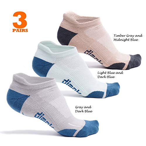 dimok Athletic Running Socks - No Show Wicking Blister Resistant Long Distance Sport Socks for Men and Women (Mixed2, Medium)