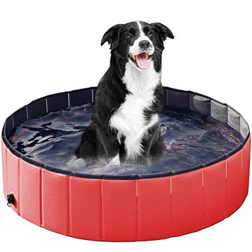 Mlamat Opvouwbare Doggy Zwembad PVC Badkuip Inklapbaar Zwembad voor Huisdieren Kinderen, Rood