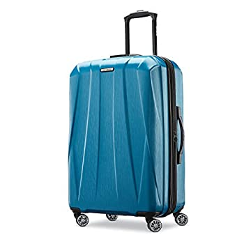 Samsonite Centric 2 Hardside Expandable Luggage with Spinner Wheels Caribbean Blue Checked-Large 28-Inch