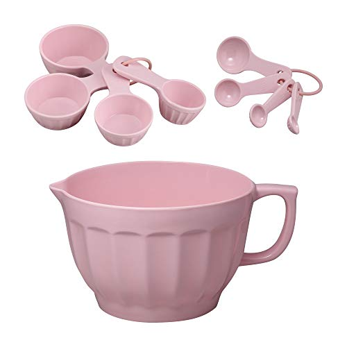 Gourmet Art 9-Piece Latte Heavyweight and Durable Batter Bowl, Measuring Cups and Spoons Set, Pink, Home Essentials Cooking and Baking Tools