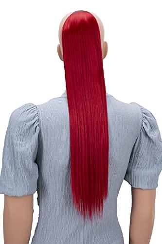 PRETTYSHOP 60cm Haarteil Zopf Pferdeschwanz Haarverlängerung Glatt Rot HC22