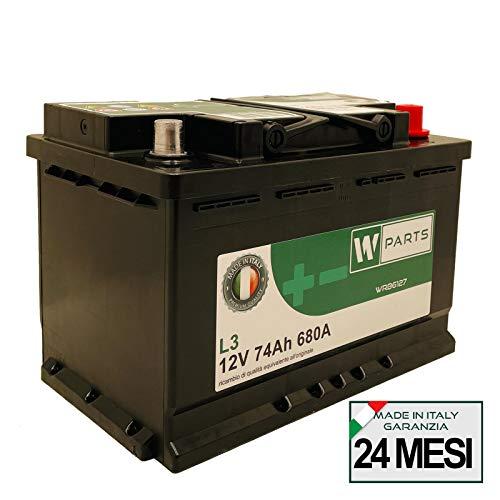 W-Parts Batteria Auto 74 Ah - 680 A EN spunto | Garanzia Italia | 278 x 175 x 190 | 74Ah