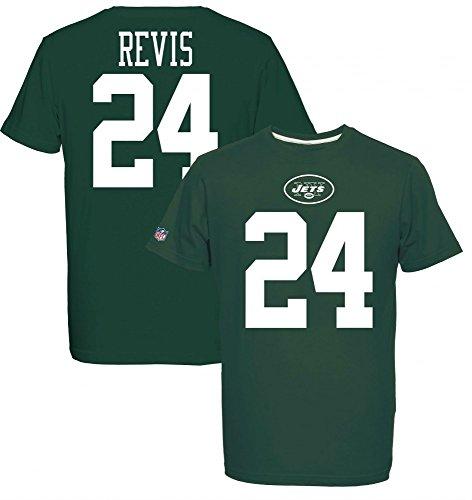 Majestic Jets Revis 24 Camiseta, Verde, S para Hombre