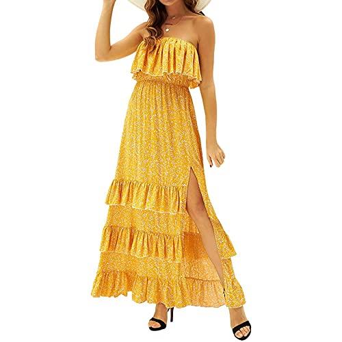 OutTop Women s Strapless Wrap Dresses Bohemian Floral Summer Casual Ruffle Hem High Split Maxi Dress Boho Sundress (#02-Yellow, S)