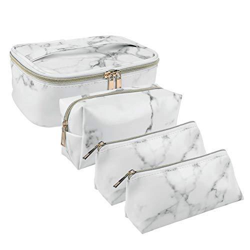 Yorgewd 4 Pack Marble Makeup BagCosmetic Travel Bag PortableToiletry...