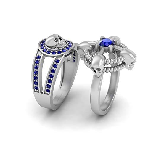 Juego de anillos de oro blanco sólido de 10 quilates con calavera gótica y cuerda náutica de zafiro azul de 1.0 cw