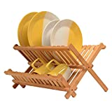 Premium Bamboo Dish Drying Rack - BAMBÜSI Compact Collapsible Dish Rack Kitchen Plate Holder