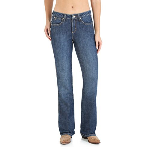 Wrangler Women's Aura Instantly Slimming Mid Rise Boot Cut Jean, Blue Legend, 16 Tall
