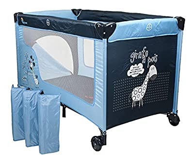 Chiccot - Travel Cot with a Sleeping Mattress for Children - Traveling Portable and Foldable Bed Height-Adjustable, Mobile Travel Package
