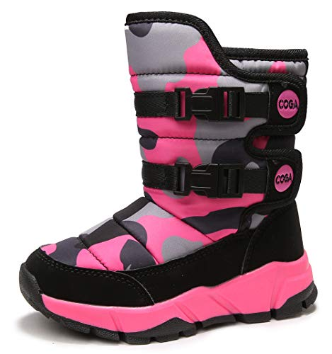 DADAWEN Boys Girls Snow Boots Kids Winter Outdoor Waterproof Slip Resistant Cold Weather Shoes (Toddler/Little Kid/Big Kid) Camouflage Pink US Size 12 M Little Kid