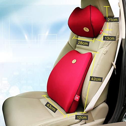 Ocamo Cadeau voor mannen, vriend of vader, rugkussen auto lendenkussen | neksteunkussen | ideale lendensteun voor bureaustoel & bank | reis met vliegtuig en auto en andere reizen roze