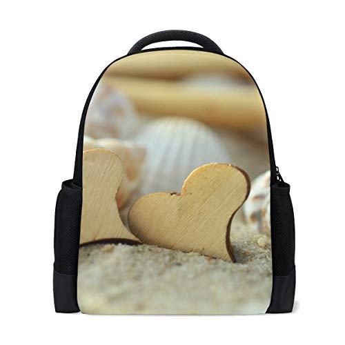 FANTAZIO - Abalorio de madera con forma de corazón, para mochila de playa o escuela