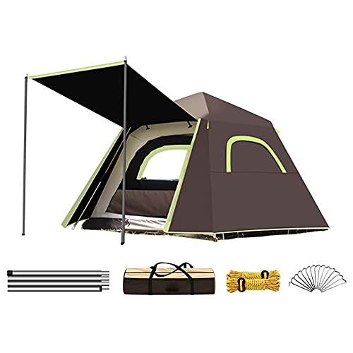Carpas emergentes para acampar de 3 a 4 personas de doble capa automática instantánea tienda de campaña portátil de playa para senderismo al aire libre (color café, tamaño: 3)