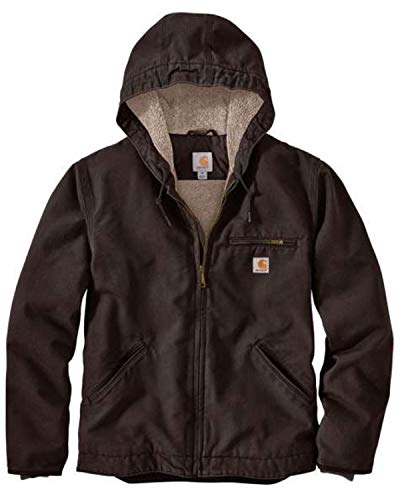 Carhartt Men's Relaxed Fit Washed Duck Sherpa-Lined Jacket, Dark Brown, 2X-Large/Tall
