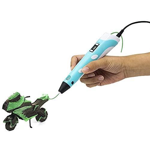 OYYXNN Pluma de impresión 3D, pluma de dibujo 3D con pantalla LCD, bolígrafo 3D Doodler creativo DIY Artes Artesanías Regalo para niños adultos vacaciones juguetes de Navidad, azul