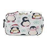 Hunihuni - Estuche para lápices, diseño de pingüinos de gran capacidad, bolsa de maquillaje con compartimentos de doble cremallera