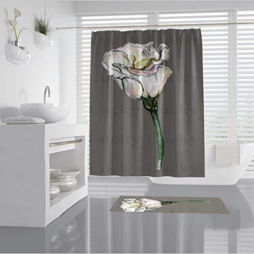nobrand douchegordijn roos waterdichte 3D-digitale print meeldauw polyester decoratieve douchecabine badkamer