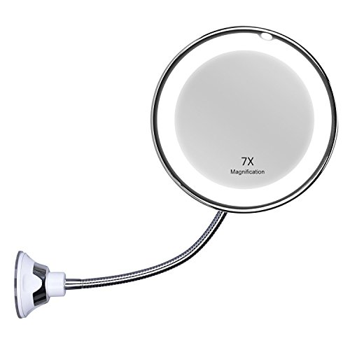 """KEDSUM Flexible Gooseneck 6.8"""" 7X Magnifying LED Lighted Makeup Mirror,Bathroom Magnification Vanity Mirror with Suction Cup, 360 Degree Swivel,Daylight,Battery Operated,Cordless & Travel Mirror"""