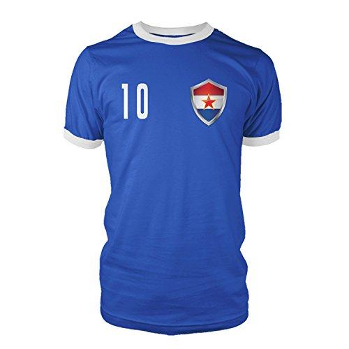 net-shirts Yugoslavija Jugoslawien Trikot Style 2 T-Shirt Fussball Nationalmannschaft WM EM, Größe L - Rückennummer 10, blau