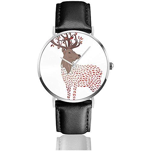 Armbanduhren Quarzuhr - Cartoon Deer Stylized Wild Deer Mit Hörnern Men 'S Fashion Minimalist Wrist Watch