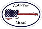 Country Music - American Flag Guitar Country Music Vinyl Sticker - Country Music Bumper Sticker - Guitar Decal - Music Decal - Perfect Country Music Fan Gift - Made in the USA Size: 4.7 x 3.3 inch