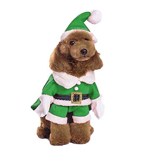 NACOCO Pet Christmas Costumes Dog Suit with Cap Santa Claus Suit Dog Hoodies Cat Xmas Costumes (Green, M)