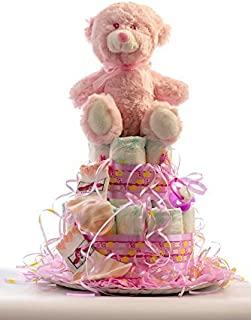 Flores AVRIL ofrece: tarta de pañales para bebé niña. Un
