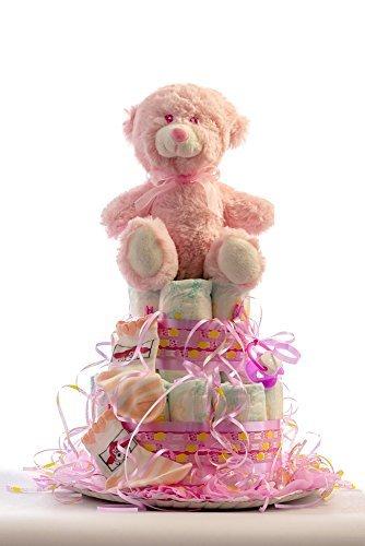 Tarta de pañales para bebé recién nacido. Un regalo original, incluyendo 20 pañales de la marca DODOT más peluche más calcetín más toalla facial, ofrecido por Flores AVRIL