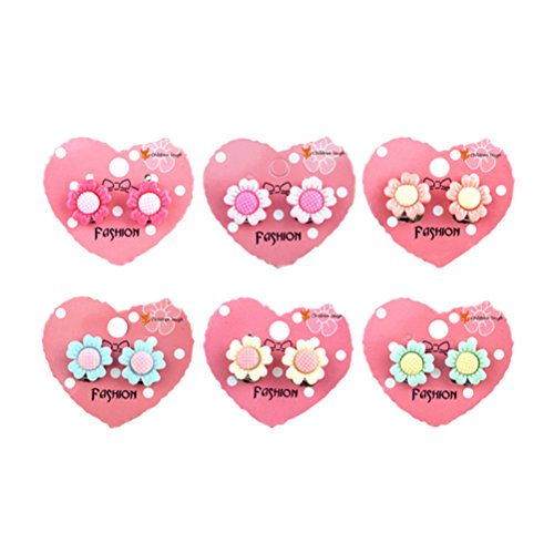 TOYMYTOY 6 pares de pendientes de clip con diseño de girasoles, para cumpleaños infantiles, joyas de regalo