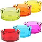 com-four 6X Ceniceros pequeños de Vidrio Transparente - ceniceros para Uso Privado y gastronomía 4 mm de Espesor (06 Piezas - Ø 7 cm de Colores)