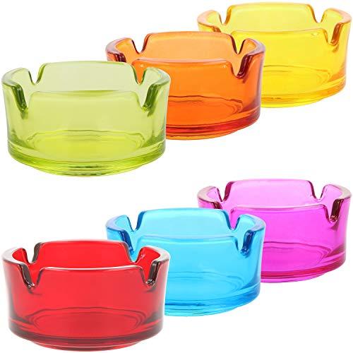 com-four® 6X Ceniceros pequeños de Vidrio Transparente - ceniceros para Uso Privado y gastronomía 4 mm de Espesor (06 Piezas - Ø 7 cm de Colores)