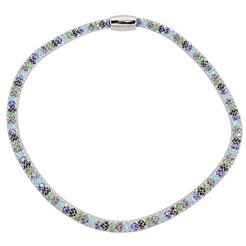Alfredo Pauly Couture-Schmuck Damen-Halskette rhodiniert Mesh Kristalle Multicolor Magnetschließe