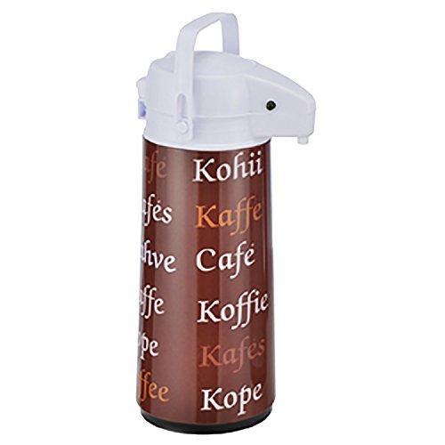 Airpot 1,9 L Metall Kaffeekanne Pumpkanne Isolierkanne Metallmantel mit Glaseinsatz Braun mit Schrift Thermoskanne