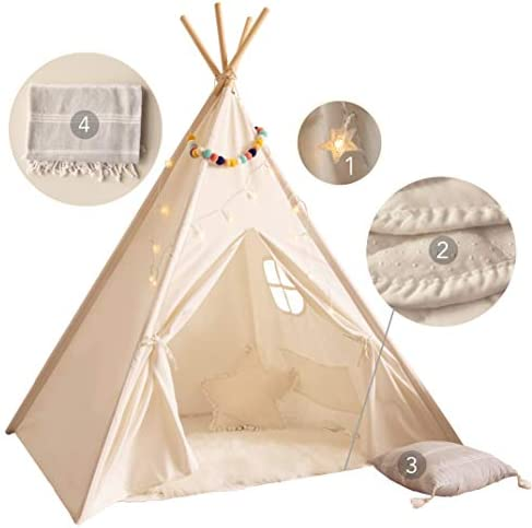 PLAYVIBE Kids Teepee Tent for Kids with Mat Light String Pillow Blanket Teepee Tent for Kids product image