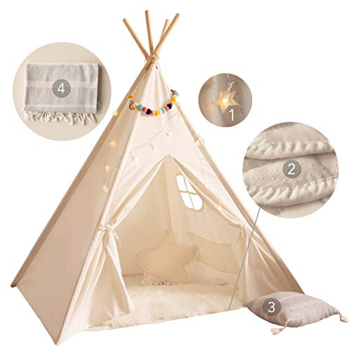 PLAYVIBE Kids Teepee Tent for Kids - with Mat, Light String, Pillow & Blanket | Teepee Tent for Kids | Kids Play Tent | Kids Teepee Play Tent | Toddler Teepee Tent for Girls & Boys